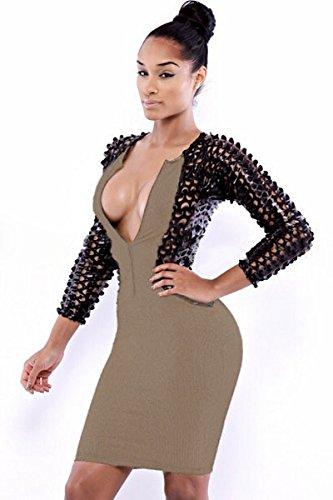 Nueva mujer marrón y negro aspecto mojado Hollow Out detalle manga larga cremallera frente Mini vestido Club vestido Casual vestido de fiesta de verano tamaño m UK 10–�?2EU 38–�?0