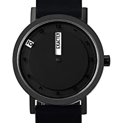 Projects Mens Stainless Steel/Silicone Till Watch w/ Black Face (Black)