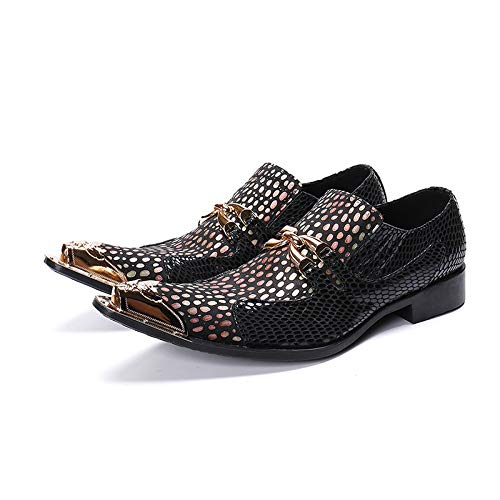 schuhe Herren Westernspitze Cowboy-Schuhe aus Metall mit Zehenspitzen Gepunktete Schlangenhaut Schlangenhaut Schlangenhaut Strukturiertes Leder Schwarz,EU44 52a5ec