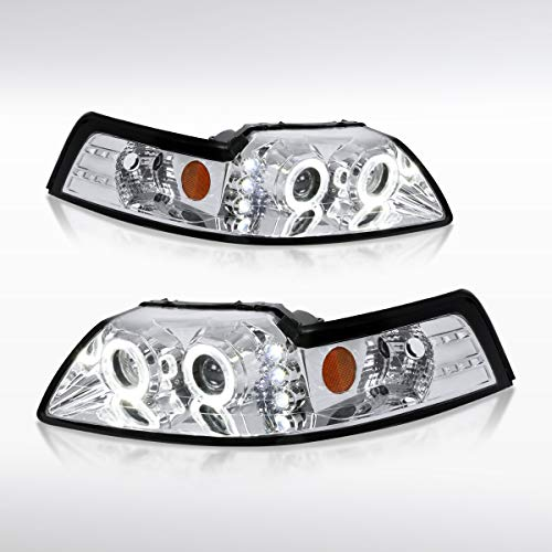 Autozensation For Ford Mustang GT SVT Dual Halo Projector Headlights Chrome Head Lamps Pair