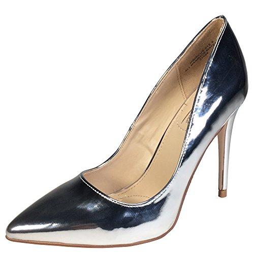 Anne Michelle Womens Plain Pointy-Toe Dress Heel Pump Silver Patent Pu oZO7VMKB