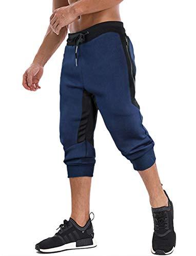 MAGNIVIT Men's Long Shorts Elastic Sports Shorts Below Knee Capri Pants with Drawstring Navy Blue ()