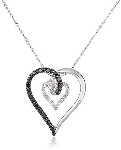 10k White Gold Black and White Heart Diamond Pendant (1/6 cttw, I-J Color, I2-I3 Clarity)