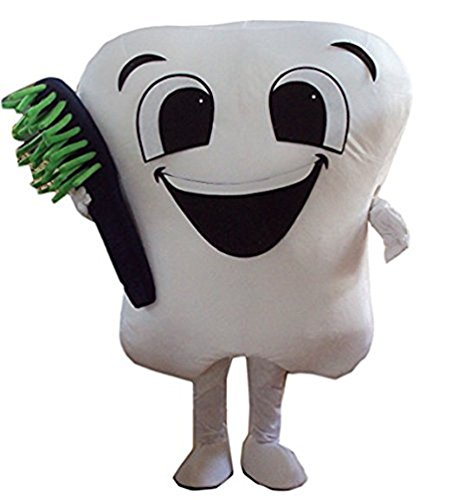 Smiling Tooth Mascot Costume Adult Size Fancy Dress -