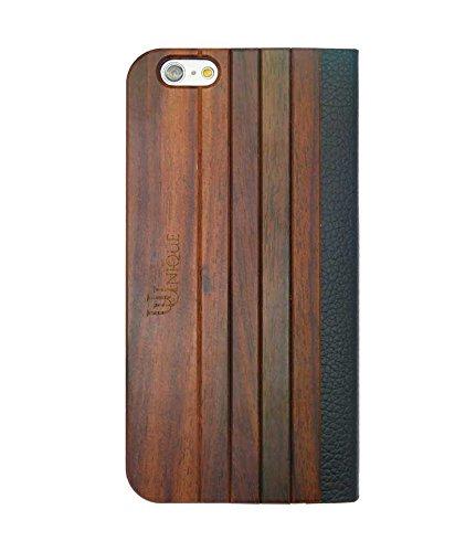 Uunique Mode Holz Panel Folio Hard Shell Schutzhülle für iPhone 6/6S, schwarz/braun
