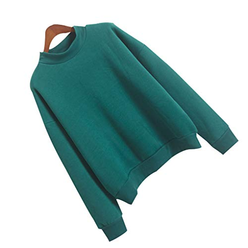 Longues Col Rond Fille Hiver Vert Sweat Pure Vêtements Épais Manches Femmes Couleur Fq41xEq
