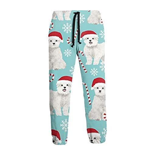 Selyee Cute Maltese Christmas Fabric Men's Big & Tall Athletic Sweatpant Training Pants Jogger White