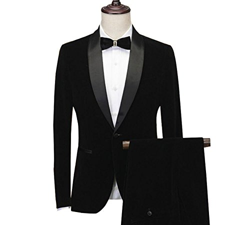 Tuxedo Wedding Black Suit (Men's Black Velvet Suit 2 Pc Slim Fit Mens Suits Groom Wedding Tuxedos Suits 38 chest/32 Waist)