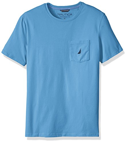 - Nautica Men's Solid Pocket T-Shirt, Rivieria Blue, Medium