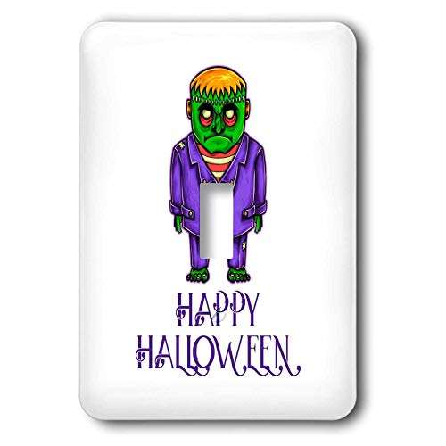 3dRose Alexis Design - Funny Characters - Green monster in a purple suit. A text Happy Halloween. Funny decor - Light Switch Covers - single toggle switch (lsp_295038_1)