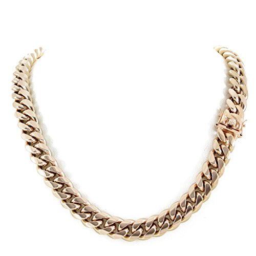 Harlembling Men's Miami Cuban Link Chain 14k 18k Yellow Gold White Or Rose Gold Plated Stainless Steel 8-18mm Thick (Rose Gold 14mm, 22) ()