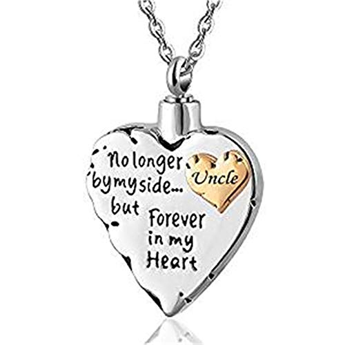 Double Heart No Longer by My Side .Memorial Keepsake Locket Ashes Urn Necklace for Mom&Dad&Grandpa&Grandma&Uncle&Aunt Cremation Jewelry (Uncle) ()
