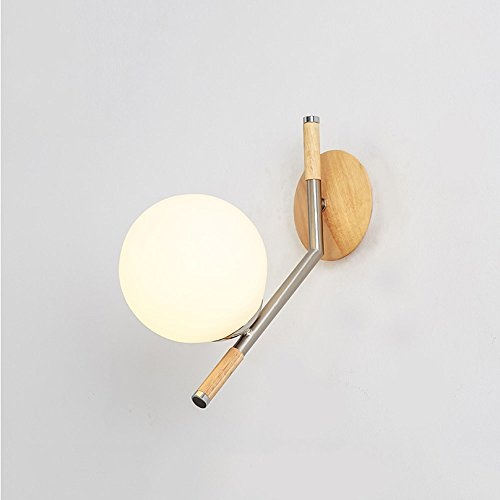 CGJDZMD Wall Sconce Creative Round Sphere Glass Wall Light Northern Europe Concise Magic Beans Metal Iron Art Wall Lamp Dining Room Kitchen Living Room Decorative Wall Lighting Fixture(E271)