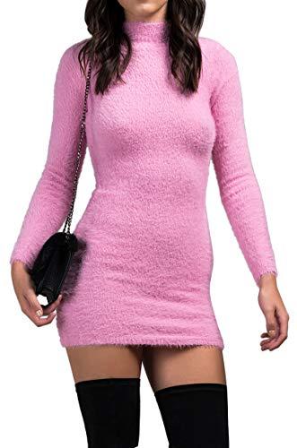 AKIRA Women's Fuzzy Fluffy Mock Neck Long Sleeve Stretch Mini Sweater Dress-Pink_S -