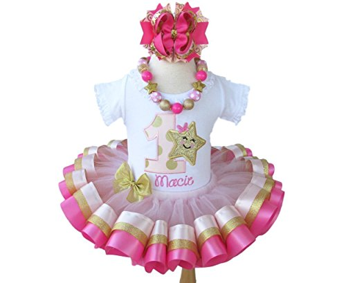 Girls Pink and Gold Twinkle Little Star Birthday Outfit with Personalized Shirt and Ribbon Trim ()