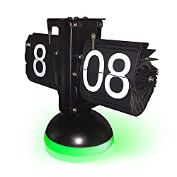 KABB New Generation Flip Clock, Mechanical Retro Flip Clock Internal Gear Operated Flip Down Clock with Voice Control LED Nightlight for Living Room Office Home Decoration (Black with Green Light)