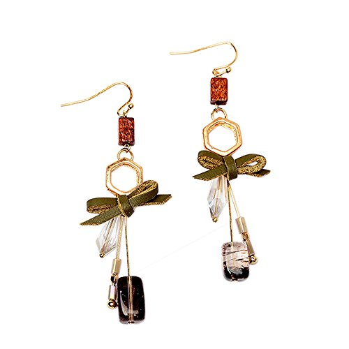 Long Earrings Crystal Earrings with bow Anchilly Drop Dangle Earring Natural Gemstone Fashion Jewelry Gift for Women ()