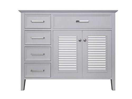 (ARIEL Kensington 42 in. Right Offset Single Rectangle Sink Base Cabinet in White)