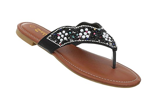 Damen Schuhe Sandalen Zehentrenner Modell Nr.2Schwarz