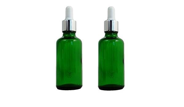 Verde botellas de cristal 50 ml con blanco y plata pipeta - Pack de 2. Top calidad recipientes vacíos de verde Durham frasco de vidrio apto para ...