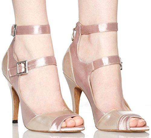 Fashion Heel Satin Womens Straps cha Skin EU 5 Custom Two Shoes Professional Sexy Cha Dance Latin 36 wq8qzC