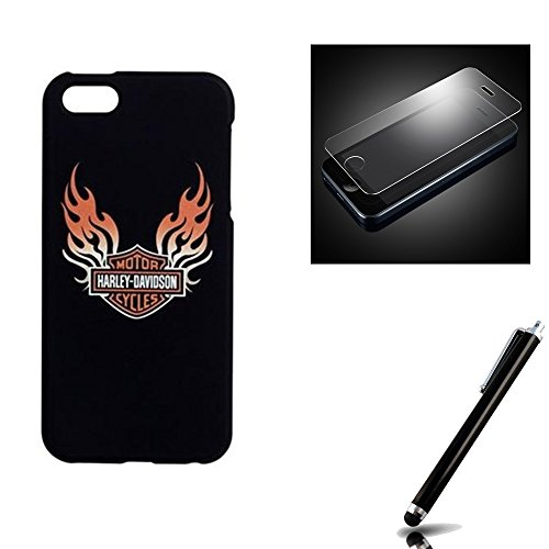 Harley Davidson iPhone 5s, iPhone 5 Hard Shell Black Bar and Shield Cover with Tempered Glass Screen Protector.