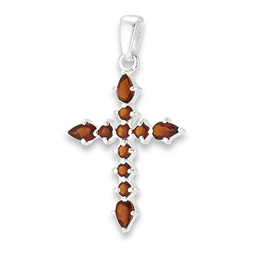 Detailed Cross Pendant Simulated Garnet .925 Sterling Silver Christian Charm - Silver Jewelry Accessories Key Chain Bracelet Necklace Pendants ()