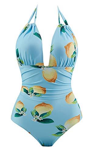 Eomenie One Piece Swimsuits Tummy Control Plus Size Swimwear Halter Bathing Suit