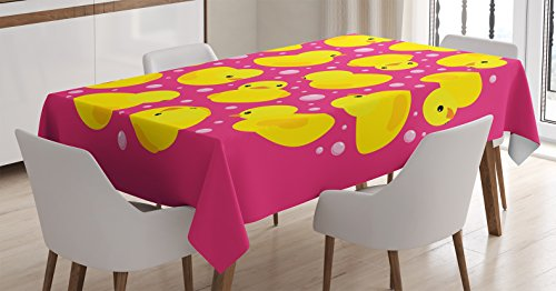 Rubber Duck Tablecloth by Ambesonne, Fun Baby Duckies Cir...
