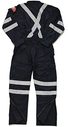 Premium High Visibility Hi Vis Coveralls with Leg Zipper (2XL - Tall, Navy Blue) by Just In Trend (Image #3)