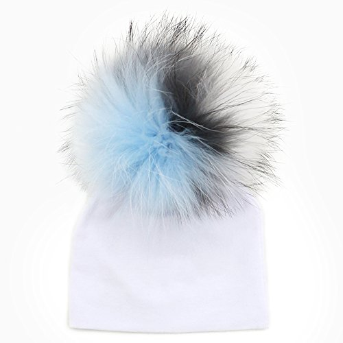 GZHILOVINGL 0-6 Months Baby Hats Newborn Infant Beanie With Real Fur Pom Pom - Review Optics Purple