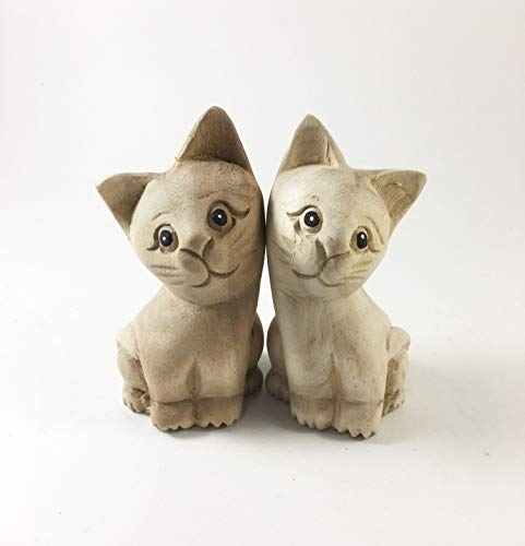 Thai Arts & Creations 1 Pair - Modern Handmade Natural Unfinished Wooden Carved Cat- Animal Doll Figurine - Collectibles Decor