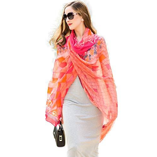 - DANA XU 100% Pure Silk Large Size Pashmina Women Scarf (Red)