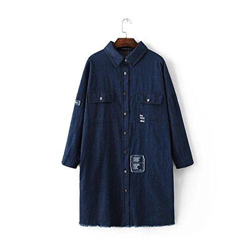 Primavera nueva chaqueta retro bolsillo de parche grande flojo del dril de algodón y largas secciones rompevientos chaqueta de las mujeres de la solapa picture color