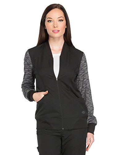 Dynamix Women's DK340 Melange Zip Front Warm-up Jacket by Dickies Medical- Black- XL