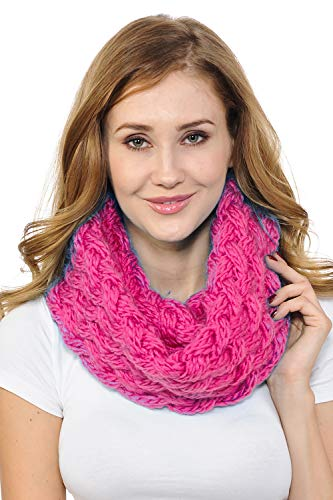 Basico Women Winter Chunky Knitted Infinity Scarf Warm Circle Loop Various Colors (Chunky Hot Pink)