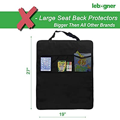 Lebogner Kick Mat Auto Seat Back Protectors + 3 Organizer Pockets, 2 Pack Waterproof Fabric Seat Cover For The Back Of Your Seat, X-Large Car Back Seat Protectors, Backseat Child Kick Guard Seat Saver: Automotive