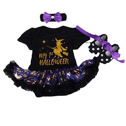 BabyPreg Infant Girl's First Halloween Pumpkin Dress, Baby Thanksgiving Dress (Black, L for 9-12 Months)]()