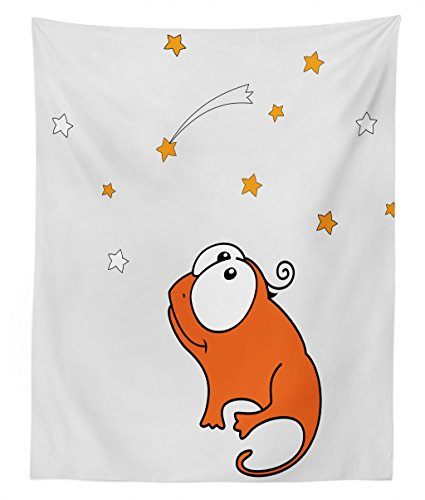 Lizard Bed Twin Little (Lunarable Star Tapestry Twin Size, Little Reptile Lizard Dinosaur Looking at Starry Night Sky with Shooting Stars Cartoon, Wall Hanging Bedspread Bed Cover Wall Decor, 68 W X 88 L inches, Orange Red)