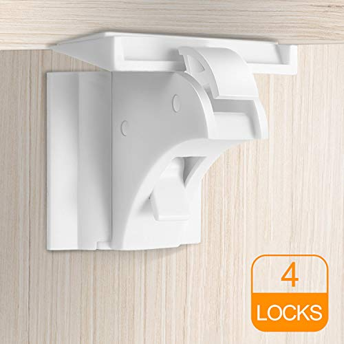 Magnetic Cabinet Locks Child Safety, Baby Proofing Magnet Drawers Locks, with High Power Stick, No Tools Needed (4Locks) by CalMyotis from CalMyotis