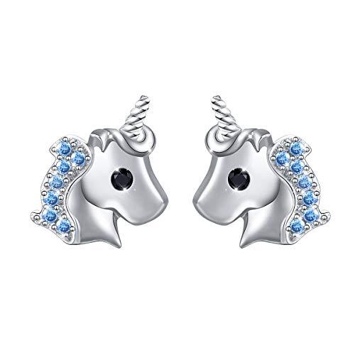 - Yearace Hypoallergenic 925 Sterling Silver Cute Cz Unicorn Stud Earrings Gift for Women Teen Girls Kids (Nickel Free)