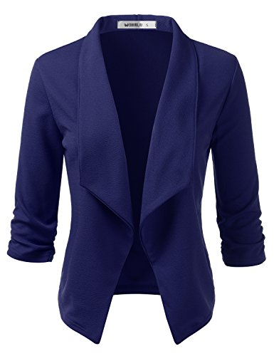 CLOVERY Women's 3/4 Sleeve Casual Basic Work Office Cardigan Tuxedo Blazer Navy 3X Plus Size ()