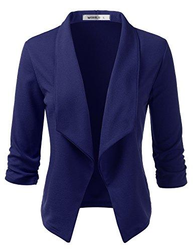 Doublju Womens Casual Work 3/4 Sleeve Open Front Blazer Jacket with Plus Size Navy 2X ()