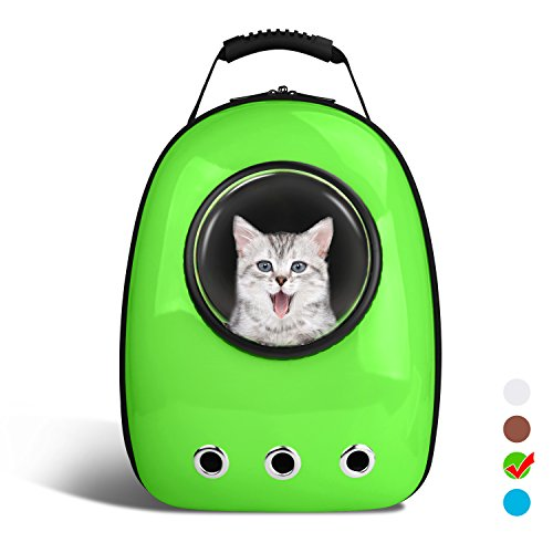 Anzone Pet Portable Space Capsule Carrier Backpack,Pet Bubble Window Traveller Knapsack Waterproof Lightweight Handbag for Cats Small Dogs Petite Animals-Green