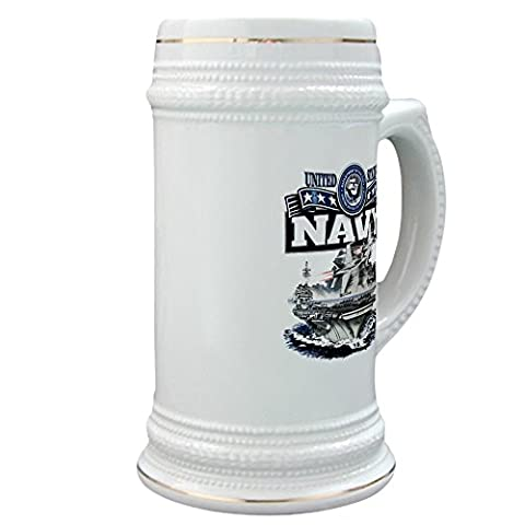 Stein (Glass Drink Mug Cup) US Navy Aircraft Carrier and Jets - Navy Stein