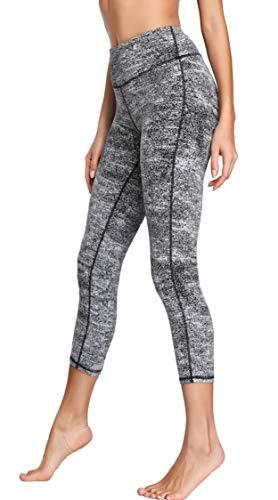 Oalka Women's Yoga Capris Power Flex Running Pants Workout Leggings White Diffuse Starlight Black M (Best Leggings Brand Canada)