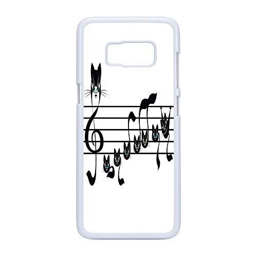Cell Phone Case Compatible Samsung Galaxy S8,Music Decor - Hard Plastic Phone Case/White - Notes Kittens Kitty Cat Artwork Notation Tune Children Halloween Stylized -