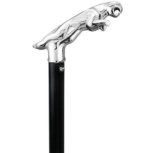 Chrome Plated Jaguar Handle Walking Cane With Black Beechwood Shaft