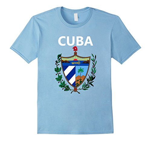 Mens Cuba Coat of Arms T-Shirt National Emblem of Cuba Shirt Small Baby Blue