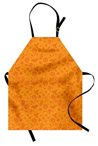 Ambesonne Halloween Apron, Monochrome Design with Traditional Halloween Themed Various Objects Pumpkin Bat Print, Unisex Kitchen Bib Apron with Adjustable Neck for Cooking Baking Gardening, -